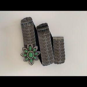 Vintage metal belt turquoise flower 🌺brooch